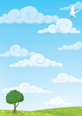 Cartoon meadow background. A4 proportions. No transparency and gradients used. Stock Vector - 6881702