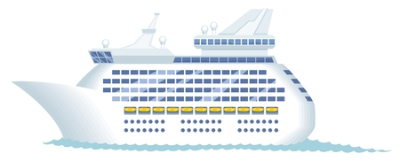 Modern cruise ship isolated on white.  No transparency and gradients used. Stock Vector - 6881715