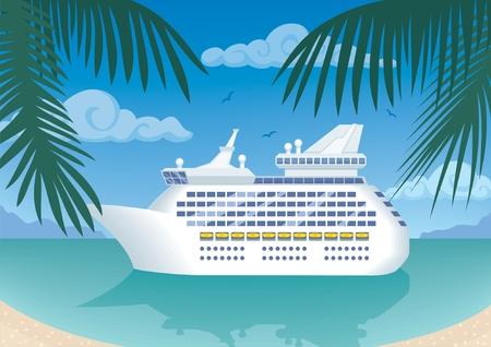 voyage: Crucero moderno amarre a una bah�a tropical.  Sin transparencia y degradados que se utiliza.