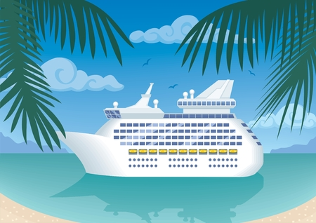 cruise cartoon: Modern cruise ship mooring at a tropical bay.  No transparency and gradients used.  Illustration
