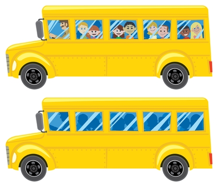 A cartoon school bus in 2 versions. To view the black colors properly in AI don't forget to check the OVERPRINT PREVIEW (Window > Separation Preview > Overprint Preview).  No transparency and gradients used.  Vector