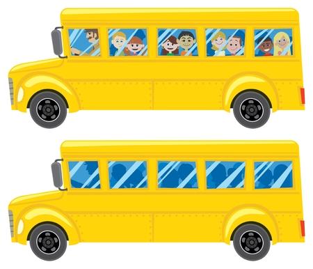 transport scolaire: Un autobus scolaire bande dessin�e en 2 versions. Pour voir les couleurs noir correctement dans AI n'oubliez pas de v�rifier l'aper�u de la surimpression (Fen�tre> Aper�u> S�paration Aper�u de la surimpression). Aucune transparence et d�grad�s utilis�s.