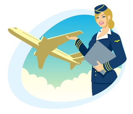 cabin attendant: Air hostess presenting her company's services. No transparency used. Basic (linear) gradients used for the sky. Illustration