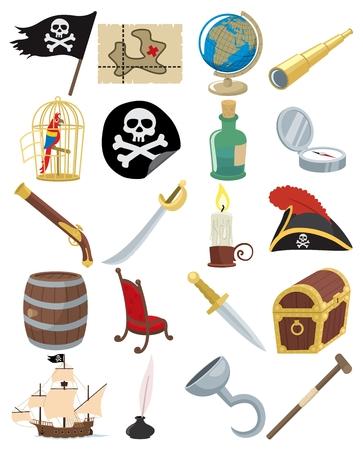piratenhoed: Collectie van 20 cartoon piraat accessoires. Geen transparantie- en kleur overgangen gebruikt. Rijk zwart, net zo goed als normale zwart is gebruikt, dus als u AI gebruikt don�t vergeet om de overdruk PREVIEW (Window > scheidings voorbeeld > Voorvertoning overdruk).