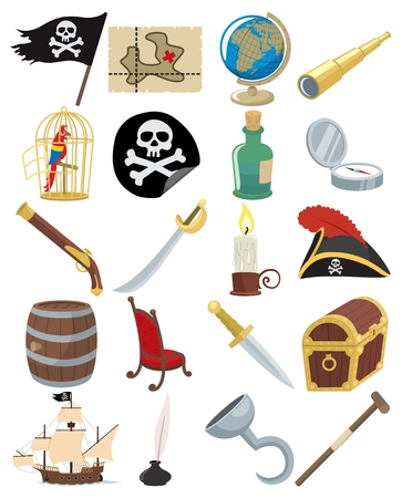 Collection of 20 cartoon pirate accessories. No transparency and gradients used. Rich black, as well as normal black has been used, so if you are using AI don't forget to check the OVERPRINT PREVIEW (Window > Separation Preview > Overprint Preview).  Vector