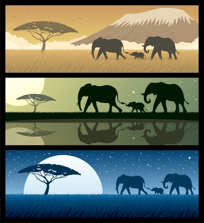 Three African landscapes with elephants. Basic (linear) gradients used. Rich black, as well as normal black has been used, so if you are using AI don�t forget to check the OVERPRINT PREVIEW (Window > Separation Preview > Overprint Preview).  Vector