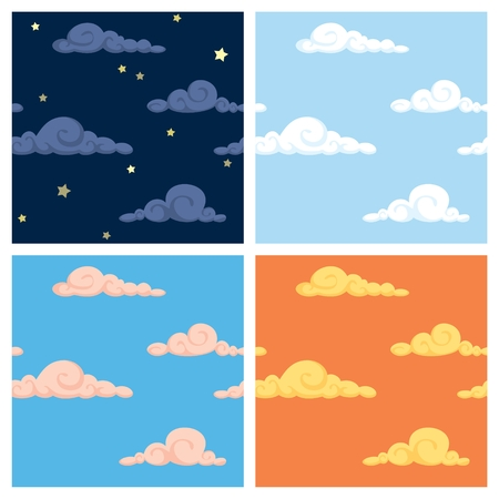 Four seamless sky patterns. No transparency and gradients used.  Vector
