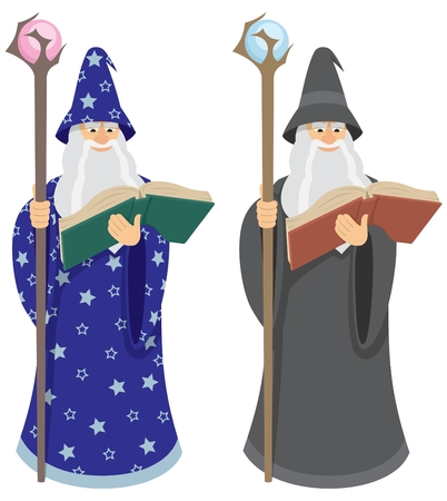 A wizard, reading a spell from an old book. If you are using AI don�t forget to check the OVERPRINT PREVIEW (Window > Separation Preview > Overprint Preview) in order to view the black colors properly.  Vector