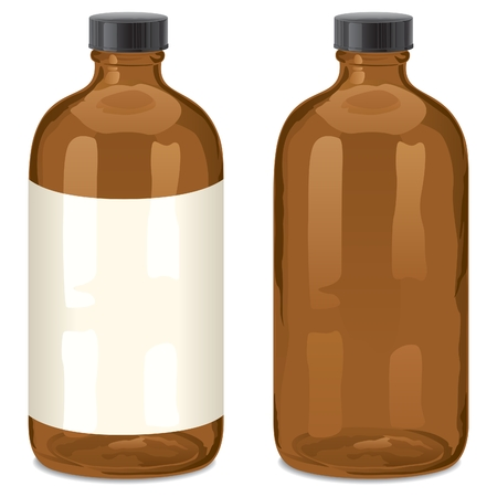 A bottle of the type Boston Round. Usually used for drugs.  Illustration