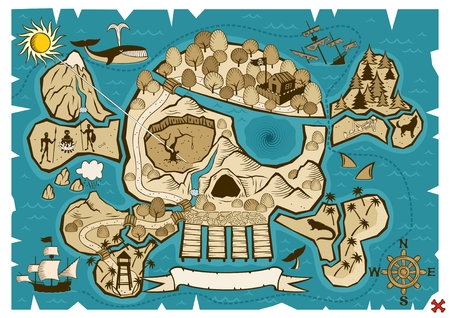 Map of  treasure island in the shape of skull and bones. Use the X in the lower right corner to mark the place of the treasure. No transparency and gradients used.  Vector