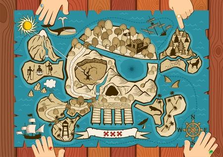 carte tr�sor: Carte de le �le au Tr�sor dans la forme du cr�ne et OS