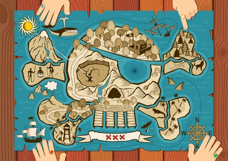 schateiland: Kaart van schat eiland in de vorm van de schedel en beenderen