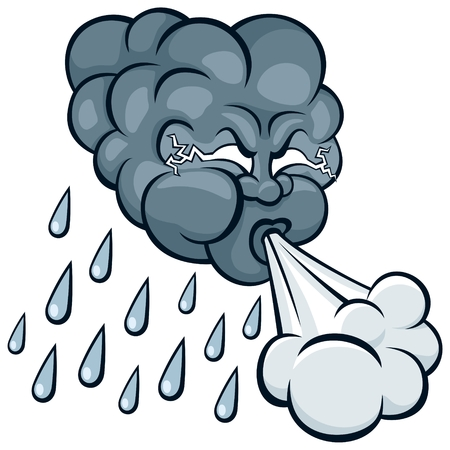 foukání: Cartoon storm cloud.  No transparency and gradients used.  Ilustrace
