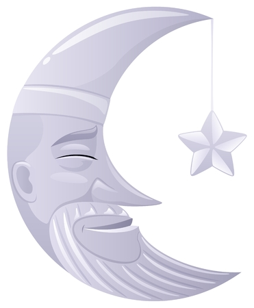 star mascot: Sleeping shiny moon.  No transparency used. Basic (linear) gradients used.