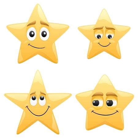 smile cartoon: 4 shiny cartoon stars