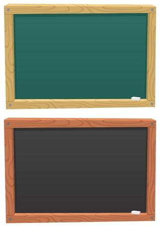 Un tableau noir de dessin animé, de couleur de 2 façons différentes.