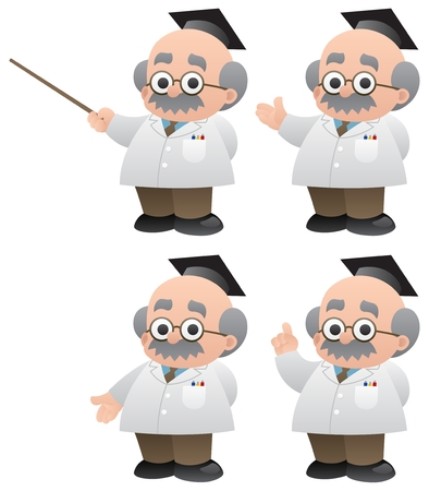 lab coats: A professor in 4 different poses.