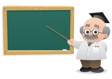 teacher classroom: Professor in front of a blackboard.  No transparency used. Basic (linear) gradients used.