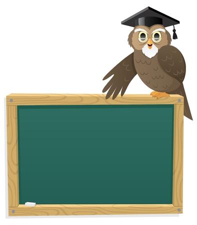 Búho de profesor, sentado en una pizarra. Sin transparencia utilizada. Degradados (lineales) básicos utilizados.  Ilustración de vector