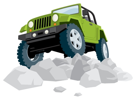 Off-road vehicle over a heap of stones.  No transparency and gradients used.  Illustration