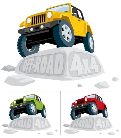 Off-road vehicle parked on a boulder. You can replace the carved text with your own text. The vehicle is in 3 color versions. Pick the one that serves you best.  No transparency and gradients used.