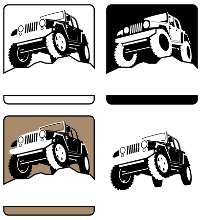 extreme terrain: 4 off-road logos. You can place the title of the company or organization below the vehicle.  No transparency and gradients used.