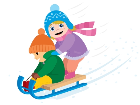 sled: 2 kids having fun with a sled.  No transparency and gradients used.
