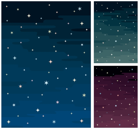 Cartoon night sky in 3 color versions.  No transparency and gradients used. A4 proportions.
