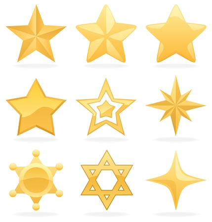 jewish star: 9 Golden star icons.  No transparency used. Basic (linear) gradients used.  Illustration