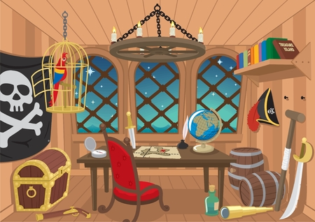 roger: The cabin of a pirate captain.  No transparency and gradients used.   Illustration