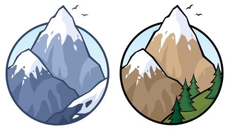 Montaña en 2 versiones. Sin transparencia utilizada. Básica degradado (lineal) que se utiliza para el cielo.  Foto de archivo - 7449749