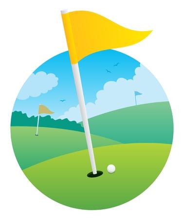 Illustratie van een golfbaan, gericht op een vlag. Geen transparantie gebruikt.