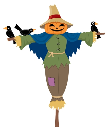 crow: A scarecrow isolated on white.  No transparency and gradients used.