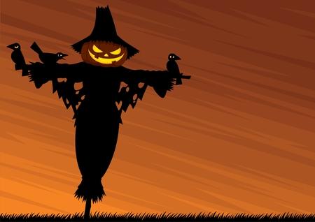 scarecrow: Fondo de Halloween con un Espantap�jaros y el espacio vac�o para el texto. Sin transparencia y degradados utilizados.  Vectores