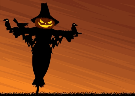 Halloween background with a scarecrow and empty space for your text. No transparency and gradients used.   Vector