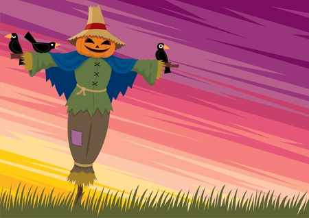 Cartoon background with a scarecrow and empty space for your text. No transparency and gradients used.   Vector