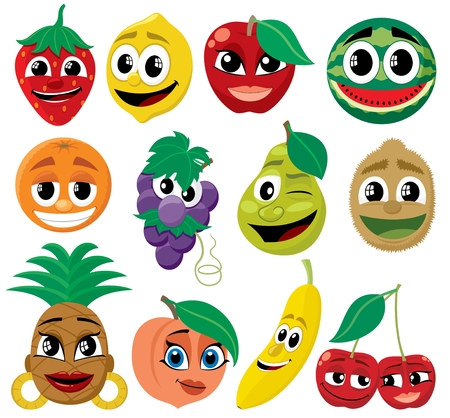 cartoon character: A set of funny cartoon fruits. No transparency and gradients used.