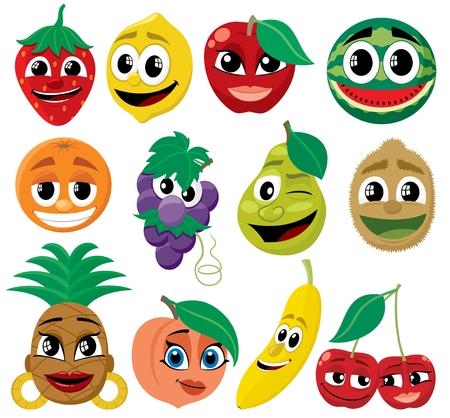 frutas divertidas: Un conjunto de dibujos animados gracioso frutos. Sin transparencia y degradados utilizados.