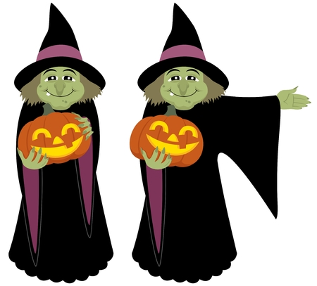 beldam: A witch, holding a Halloween pumpkin. She is in two different poses, for different purposes. No transparency and gradients used.  Illustration