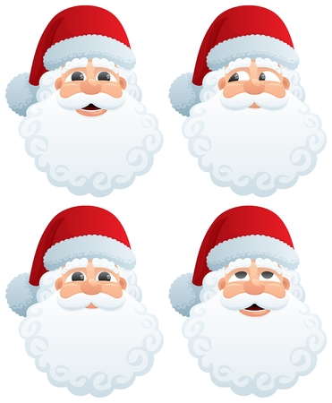 no face: The head of Santa Claus in four different face expressions. No transparency used. Basic (linear) gradients used.