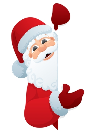 cartoon santa: Santa Claus, holding a blank sign. You can add as much white space as you need. No transparency used. Basic (linear) gradients used.