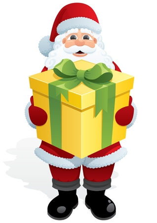 bringing: Santa Claus, bringing you a gift. No transparency used. Basic (linear) gradients used.  Illustration