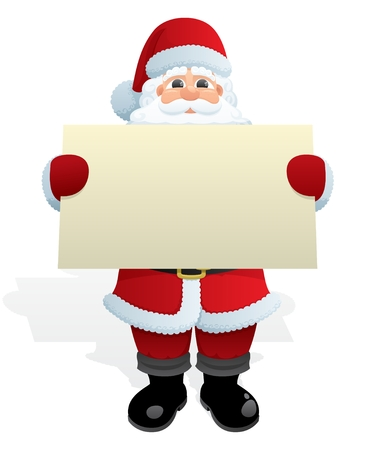 cartoon santa: Santa Claus, delivering a Christmas message. No transparency used. Basic (linear) gradients used.