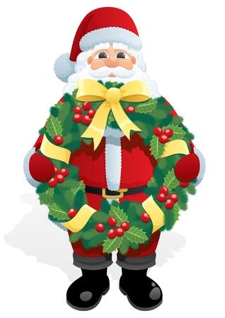 greybeard: Babbo Natale, detiene una corona di Natale. Non utilizzata la trasparenza. Base sfumature (lineare) utilizzati.  Vettoriali