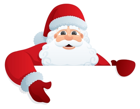 Santa Claus, holding a blank sign. You can add as much white space as you need. No transparency used. Basic (linear) gradients used.