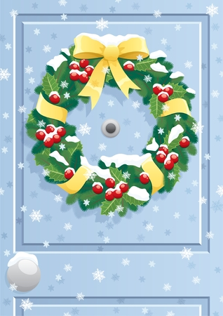 Christmas wreath on a door.  No transparency used. Basic (linear) gradients used. A4 proportions.   Vector
