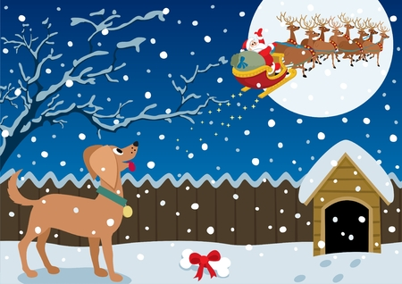 sledge dog: Santa just brought a Christmas gift to the good doggy.  No transparency used. Basic (linear) gradients used. A4 proportions.  Illustration