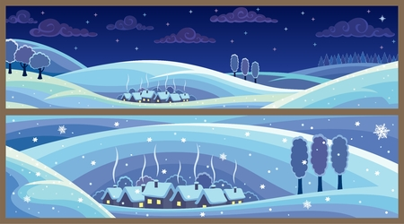 Two winter landscapes. Good for banners, headers, footers and such. No transparency used. Basic (linear) gradient used for the sky.   Stock Vector - 7745993