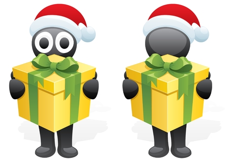 bringing: A character, bringing you a Christmas present. Next to him is the same character, but without the eyes. No transparency used. Basic (linear) gradients used.  Illustration