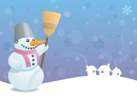 Winter background with a snowman. A4 proportions. No transparency used.  Vector